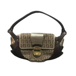Fendi Zucca Bag Baguette Mamma Leather Shoulder